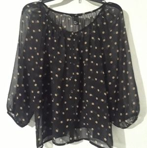 Sheer Polka Dot Top H&M Black Gold